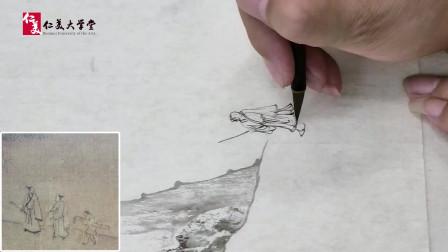 陈少梅再传弟子缪文杰先生 演示点景人物的画法