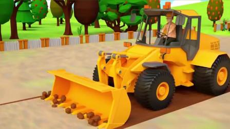 挖掘机动画,堆土机拖拉机种植蕃茄,农用拖拉机。