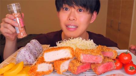 日本大胃王吃炸猪排,搭配饭团和蔬菜沙拉,一口气吃得干干净净!