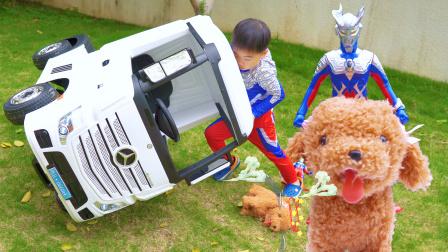 枫枫玩具 赛罗奥特曼变身,来解救被大卡车压晕的狗狗