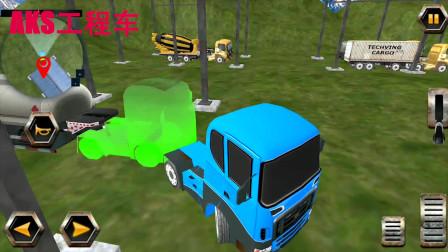 工程车卡车模拟 蓝色大卡车一次可以运六辆汽车 厉害