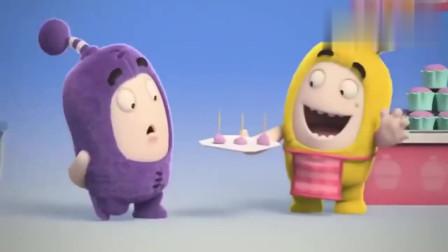 奇宝萌兵:紫宝买蛋糕,吃了几家都不喜欢,最后选择了猫粮