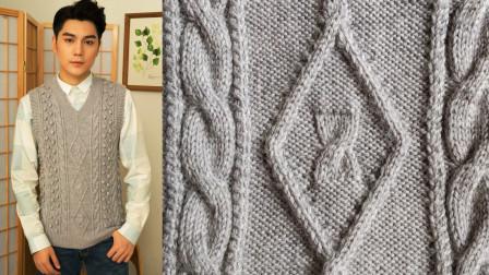 菱形花样立体感强,适合编织各种款式的毛衣,菱形方块花教程一