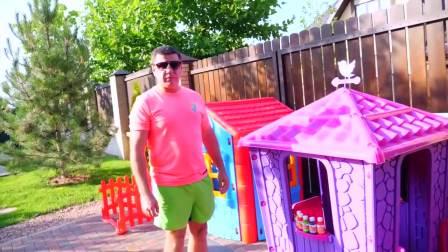 萌娃小可爱制作小房屋,小家伙刷各种颜色油漆,萌娃:好漂亮啊