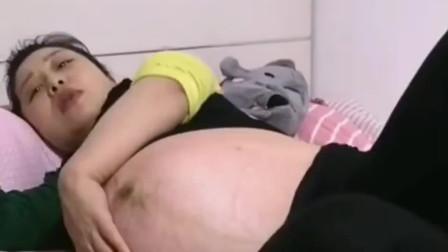 怀了双胞胎的妻子需要老公的帮助,那肚子不是一般的大!