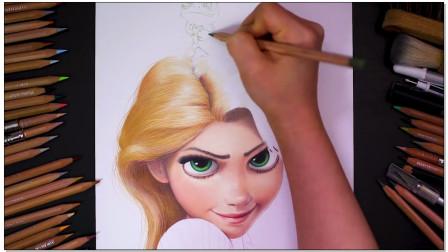 彩铅画迪士尼长发公主,成品非常漂亮,绘画教程