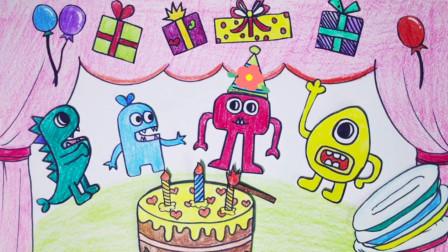 手绘定格动画:二次元吃播,用纸上美食治愈你 可爱的小怪物们过生日,吹蜡烛吃蛋糕,好开心