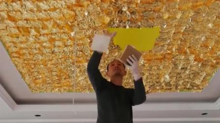 江苏连云港土豪:要求把家里装修成皇宫的样子,于是师傅就给他吊了金光闪闪的屋顶!