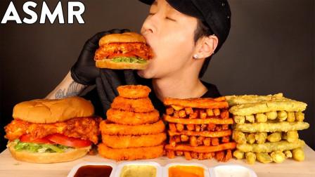 """韩国ASMR吃播:""""香辣鸡肉三明治+洋葱圈+薯条+天妇罗"""",听这咀嚼音,吃货小哥吃得真香"""