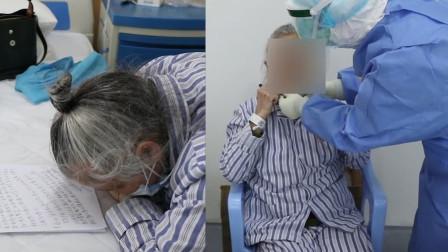 85岁新冠患者近视2500度,为感谢医护人员脸贴桌面手写感谢信