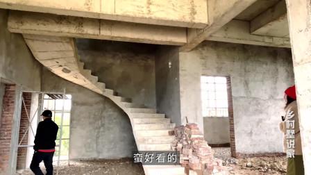 乡村墅说家101集-农村大叔自建一套三层别墅,建造3米高180度旋转楼梯