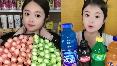 萌姐吃播:3D水果软糖、果冻饮料瓶,小时候的最爱