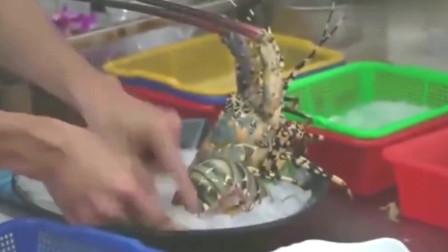 鲜活彩虹龙虾刺身,街头美食海鲜盛宴!香港人做海鲜确实有一手。