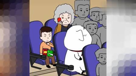 老奶奶在电影院大声喧哗,猪屁登看不下去了,不料路人的做法亮了