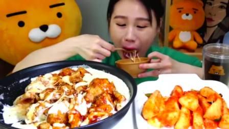 吃播:韩国大胃王卡妹吃芝士拌炸鸡腿,外酥里嫩,芝士浓香