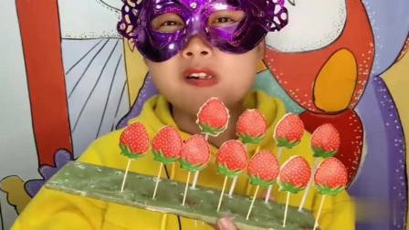 """小姐姐吃手工美食""""草莓棒棒巧克力""""红润果子好养眼,甜蜜嘣脆"""