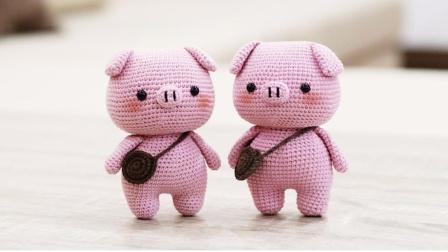恩妈手作DIY毛线钩针编织粉红猪视频高清视频