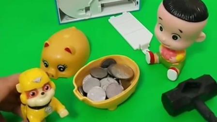 大头来给机械猫送硬币来了,机械猫里面没有电池了,谁借了电池给大头啊?