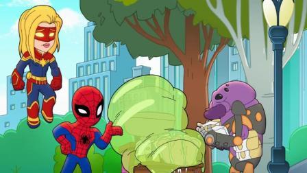 怪物在城市内四处搞破坏,蜘蛛侠和惊奇队长反而饶了它