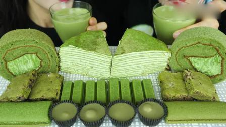 吃播大胃王:美味的抹茶蛋糕,两个人一起吃更开心