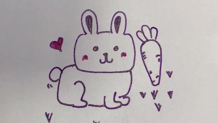 方头小兔子简笔画,小兔子爱吃胡萝卜