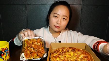 奥尔良鸡肉披萨 配韩式无骨炸鸡 香脆又美味