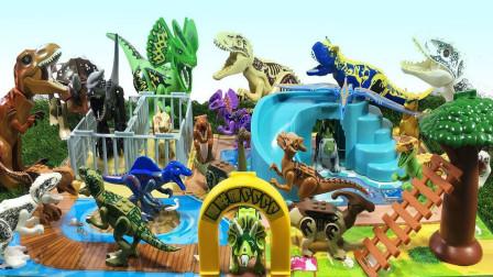 乐高侏罗纪世界,乐高恐龙摆设公园益智玩具。