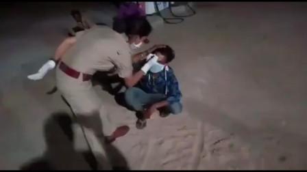 """印度男子违反封城禁令 额头被印度警方刻下""""远离我""""字样"""