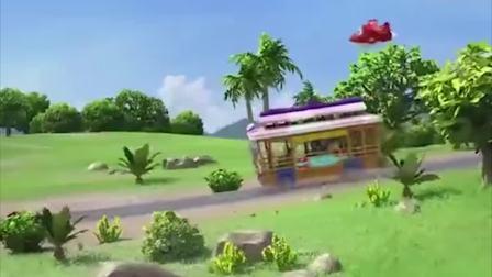 超级飞侠:女孩坐着公交车,路上却碰到火山即将喷发,无法通行