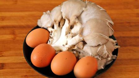 1把平菇4个鸡蛋,教你一个简单营养的做法,一口下去太鲜了!