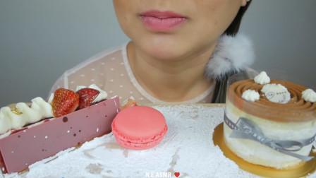 韩国大胃王吃一桌甜品,马卡龙搭配提拉米苏,看完真佩服她的胃!