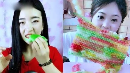 小姐姐直播吃:彩色围巾糖,看着真过瘾,是我向往的生活