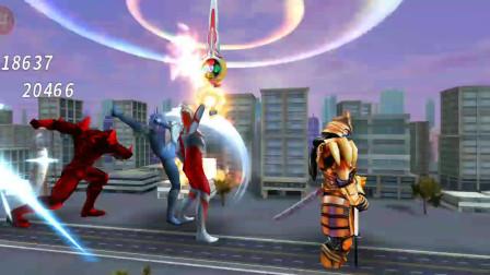 奥特曼格斗超人:原生欧布和风马VS伽古拉!圣剑和影分身的联手