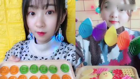 萌姐吃播:彩色字母糖、果冻小树叶,你们吃过吗