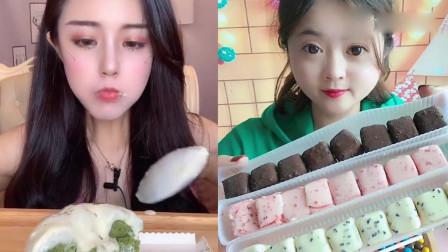 萌姐吃播:奶油抹茶爆浆蛋糕、彩色巧克力,你们吃过吗