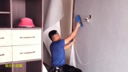 抗击肺炎疫情期间:施工墙壁布,现在正在冷胶施工装修中,你们觉得我这徒弟还能要吗?