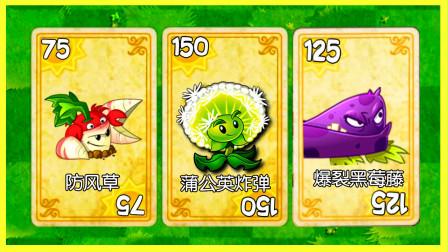 植物大战僵尸 防风草vs蒲公英炸弹vs爆裂黑莓藤,看看谁才是真正的王牌