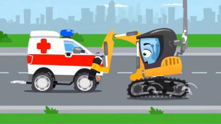 可怜的挖掘机的挖斗被抢了,这可怎么办呢?汽车总动员游戏