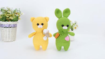 娟娟编织454肥猫和胖兔玩偶diy手工钩针编织教程高清视频