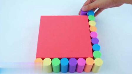 使用动力沙做彩虹蛋糕,一边玩玩具一边学习颜色英语,棒棒哒