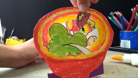 创意儿童画:跳进碗里找美食