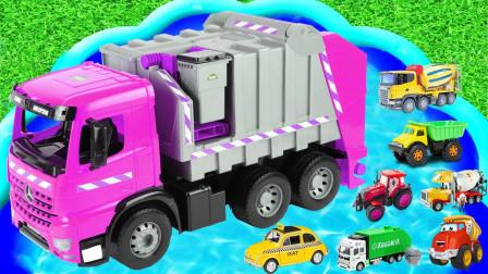 汽车玩具总动员,挖掘机、警车、消防车,快来一起学英语
