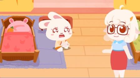 宝宝巴士趣味游戏 兔一一起床不小心摔倒了,帮她清理一下伤口吧