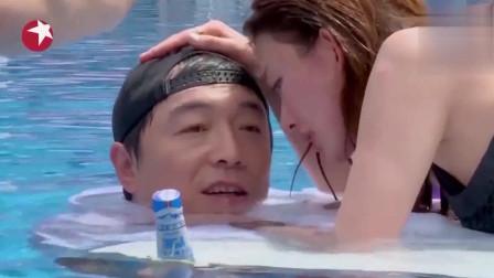 极限挑战:黄渤与林志玲泳池拍广告,容貌秀美,网友直呼:真羡慕