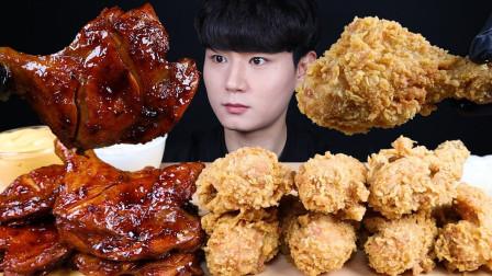 """韩国ASMR吃播:""""芝士雪花香酥炸鸡+BBQ牙买加烤鸡腿+奶酪酱"""",听这咀嚼音,吃货小哥吃得真香"""