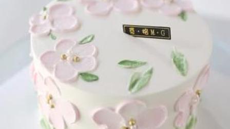 清新简单好看的奶油刮花蛋糕,很春天做起来✌️#蛋糕