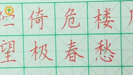 三鑫幸福教室硬笔书法教学视频    六年级古诗词书写示范   《蝶恋花》
