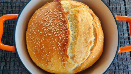 快手脆皮面包,无油无糖无添加,不用揉出膜,香脆好吃又健康 【三丰美食】