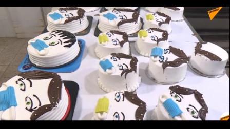 巴勒斯坦甜品师做出新冠病毒主题蛋糕