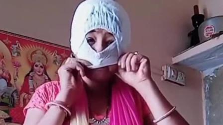 国外疫情严重口罩稀缺,这位印度主妇自制的帮宝适牌口罩,让她在当地火了